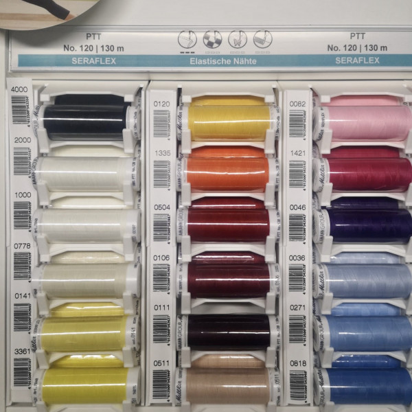 SERAFLEX Elastische Nähte 130 m, 36 Farben