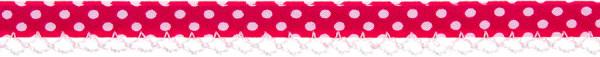 Schrägband Häkelkante 12 mm pink, gepunktet