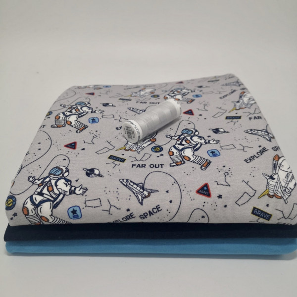 "Stoffpaket Kinder ""Astronaut"": Basicshirt, Gr. 74-110"
