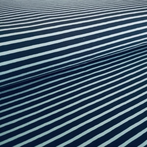 Baumwolljersey dunkelblau-hellblau gestreift
