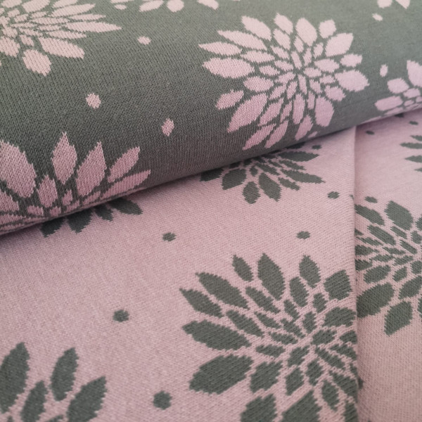 Bio-Strickstoff floral grau-rosa