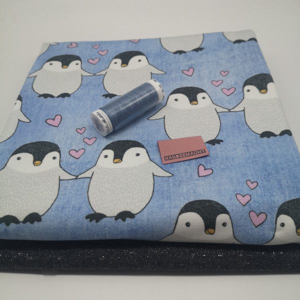 """Stoffpaket Babys """"Pinguin"""": Pumphose, Gr. 50-92"""