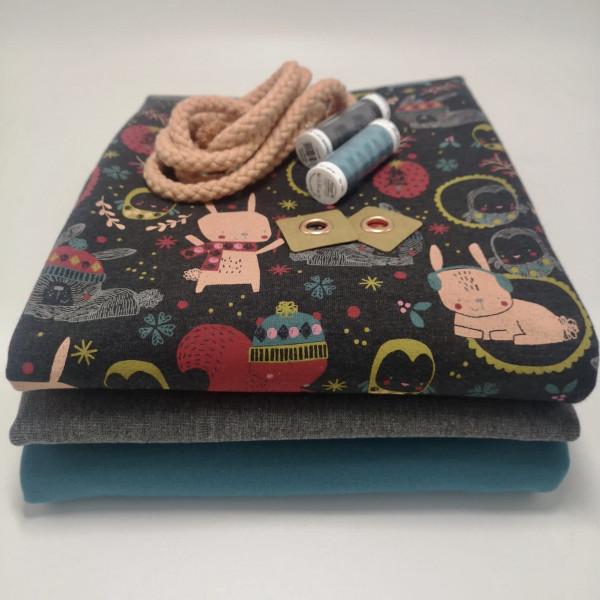 """Stoffpaket Kinder """"Cute Animals"""": Hoodie & Pumphose, Gr. 74-110"""