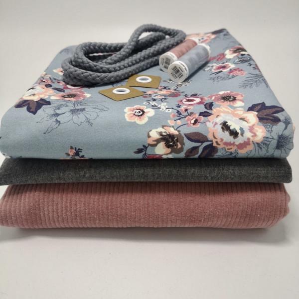 """Stoffpaket Kinder """"floral"""": Hoodie & Pumphose, Gr. 74-110"""