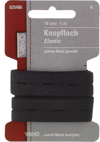 Knopfloch-Elastic 18 mm schwarz