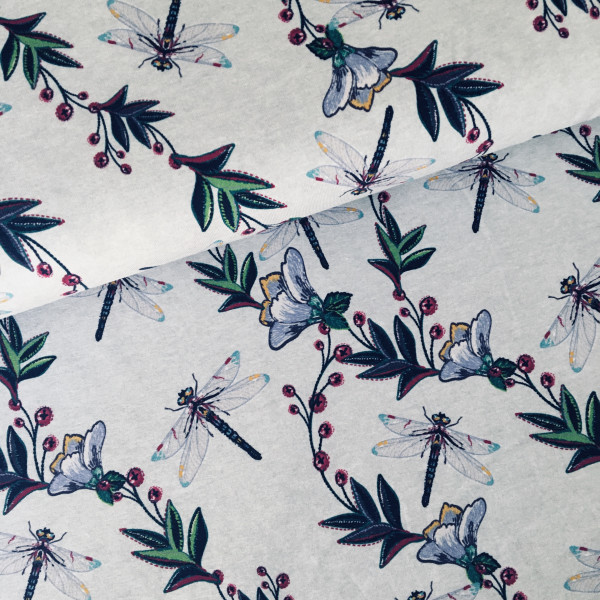Baumwolljersey Libellen meliert