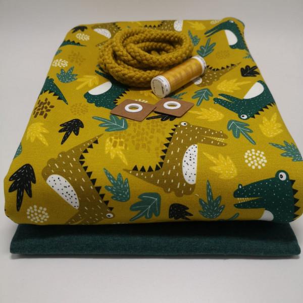 """Stoffpaket Kinder """"Krokodil"""": Hoodie, Gr. 116-152"""