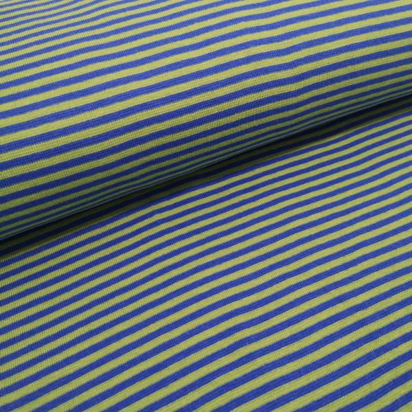 Bündchenstoff Ringel gestreift grün/blau