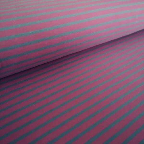 Baumwolljersey pink-grau gestreift