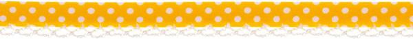 Schrägband Häkelkante 12 mm gelb, gepunktet