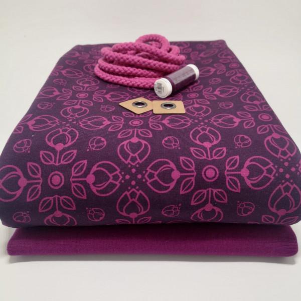 """Stoffpaket Damen """"floral"""": Hoodie, Gr. 46-58"""