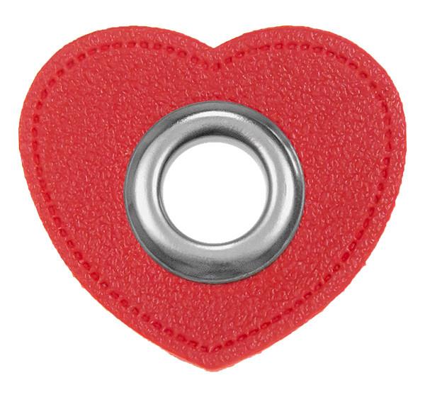 Ösen-Patches Herz Lederimitat rot
