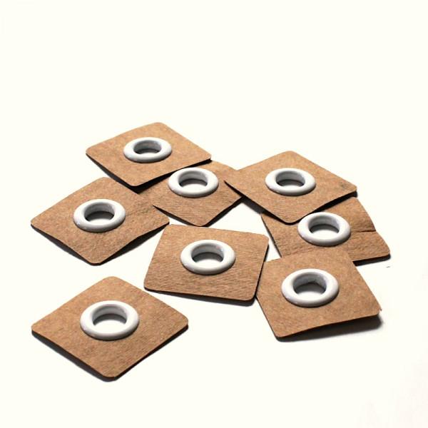 4 Aufnähösen SnapPap 8 mm weiß