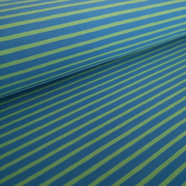Baumwolljersey blau-grün gestreift