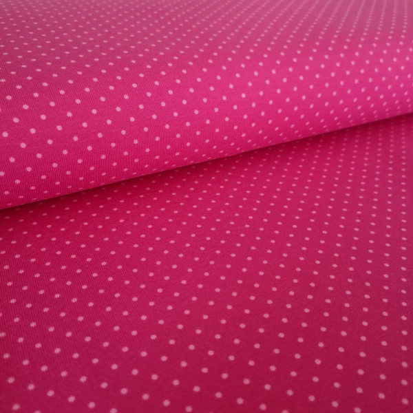 Baumwolljersey gepunktet pink-rosa