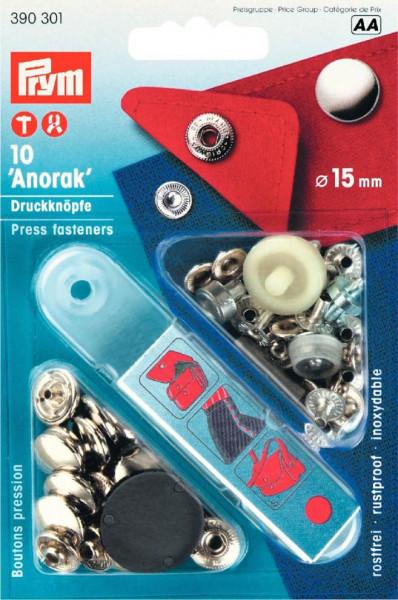 """Druckknöpfe """"Anorak"""" 15 mm silberfarbig"""