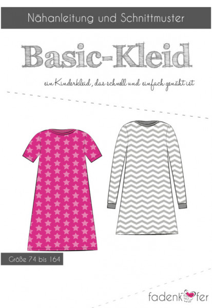 Schnittmuster Basic-Kleid Kinder Gr. 74-164