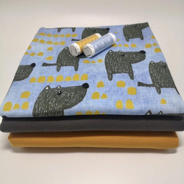 "Stoffpaket ""Wolf"": Babyset, Gr. 50-98"