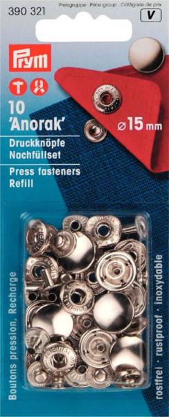 "Nachfüllpack Druckknöpfe ""Anorak"" 15 mm silberfarbig"