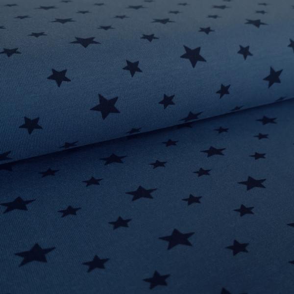 Baumwolljersey Sterne jeansblau