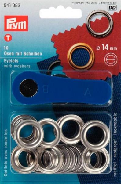 Ösen und Scheiben 14 mm silberfarbig