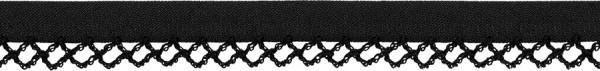 Schrägband Häkelkante 12 mm schwarz