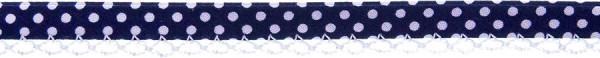 Schrägband Häkelkante 12 mm dunkelblau, gepunktet