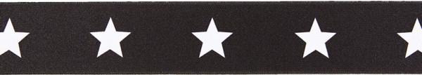 Gürtelgummi 40 mm Sterne, schwarz