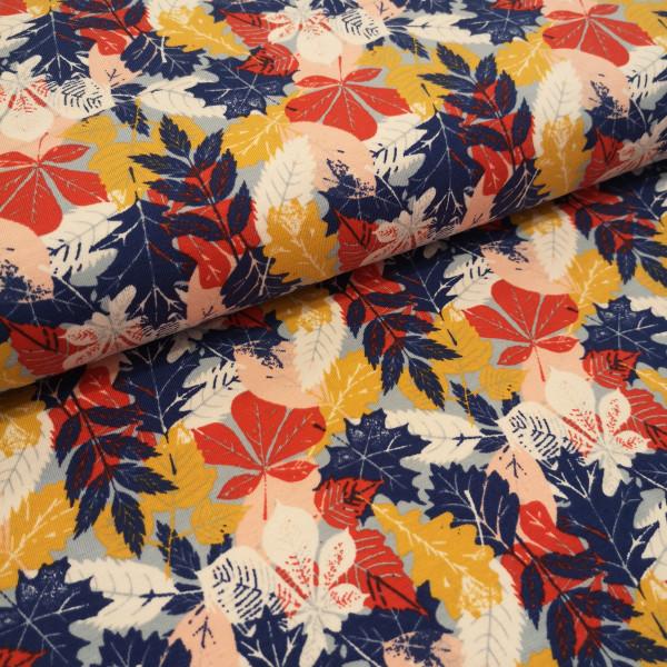 Baumwolljersey Herbstblätter