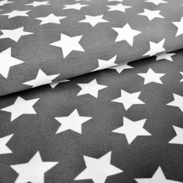 Baumwolljersey Sterne grau