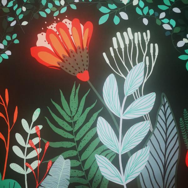 Baumwolljersey Bordüre floral