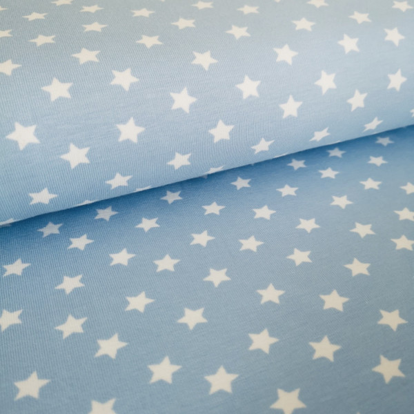 Baumwolljersey Sterne hellblau