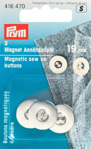 Magnet-Annähknöpfe 19 mm silberfarbig