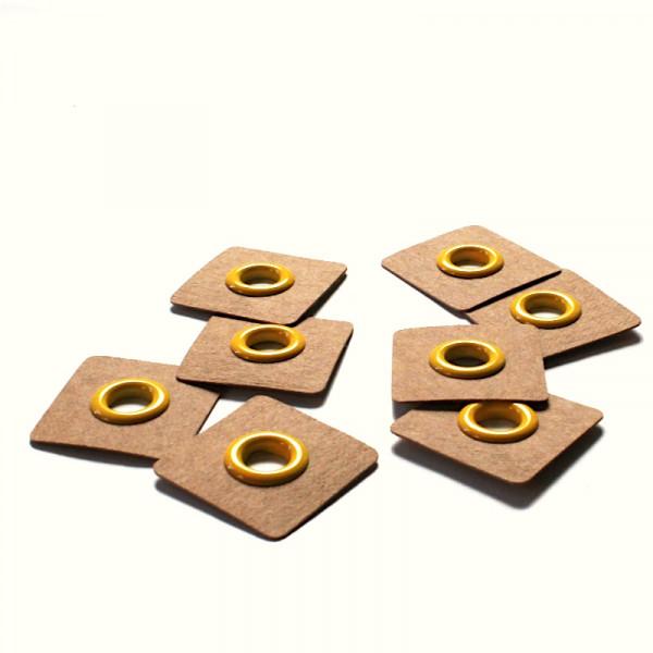 4 Aufnähösen SnapPap 8 mm gelb