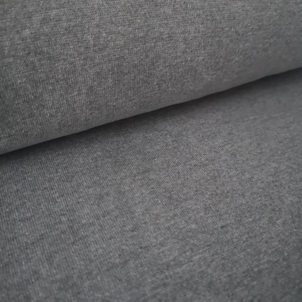 Bündchenstoff Feinstrick grau-meliert