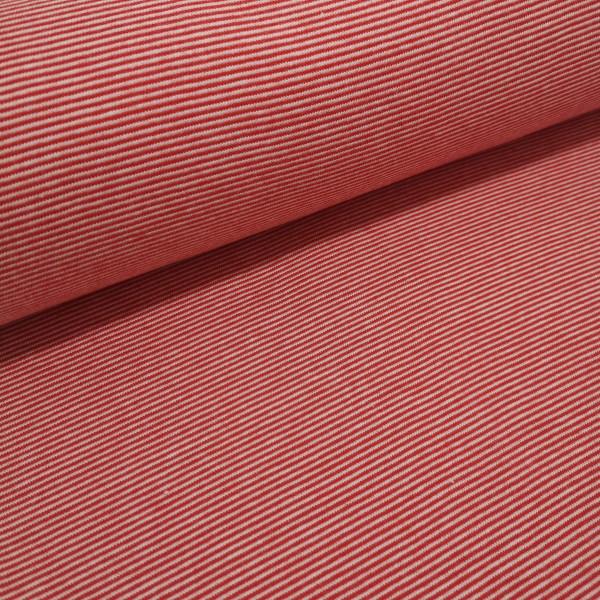 Bündchenstoff Ringel gestreift rot/weiß