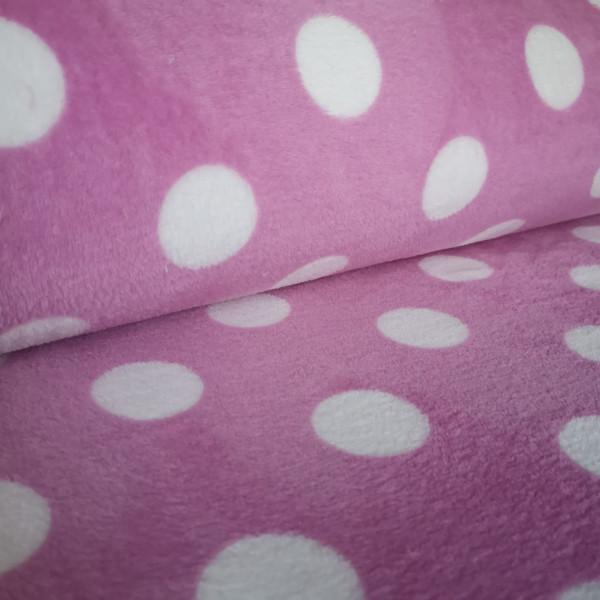 Flanell Fleece rosa Punkte