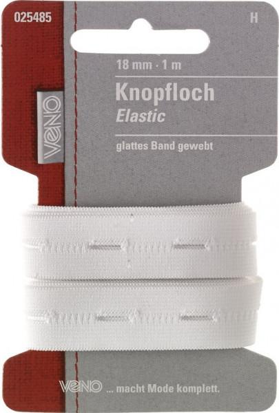 Knopfloch-Elastic 18 mm weiß
