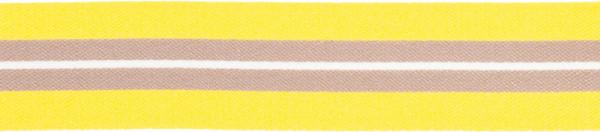Band 25 mm gelb-grau gestreift