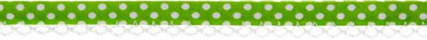 Schrägband Häkelkante 12 mm apfelgrün, gepunktet