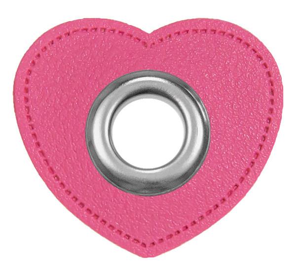Ösen-Patches Herz Lederimitat pink