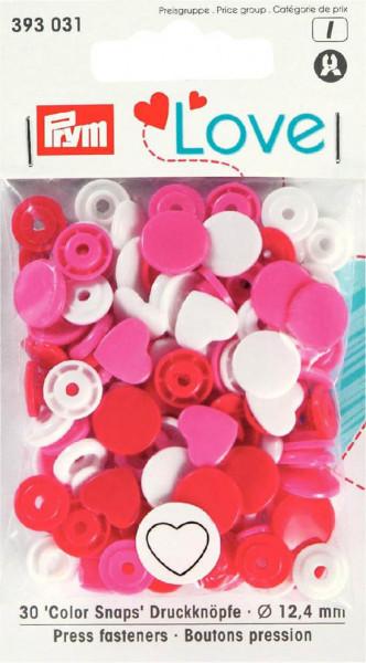 """Druckknöpfe """"Color Snaps"""" 12,4 mm weiß/pink/rot Herz"""
