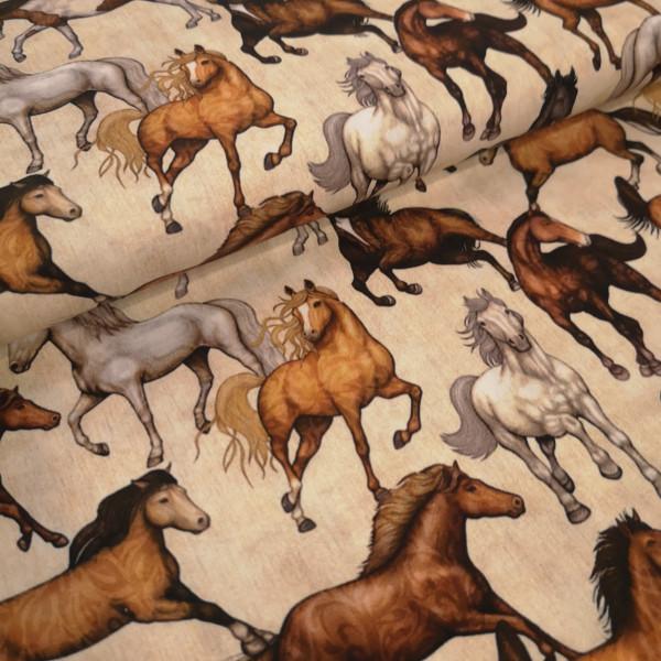Baumwollstoff Pferde
