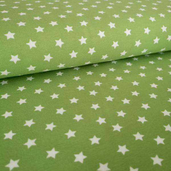 Baumwolljersey Sterne hellgrün