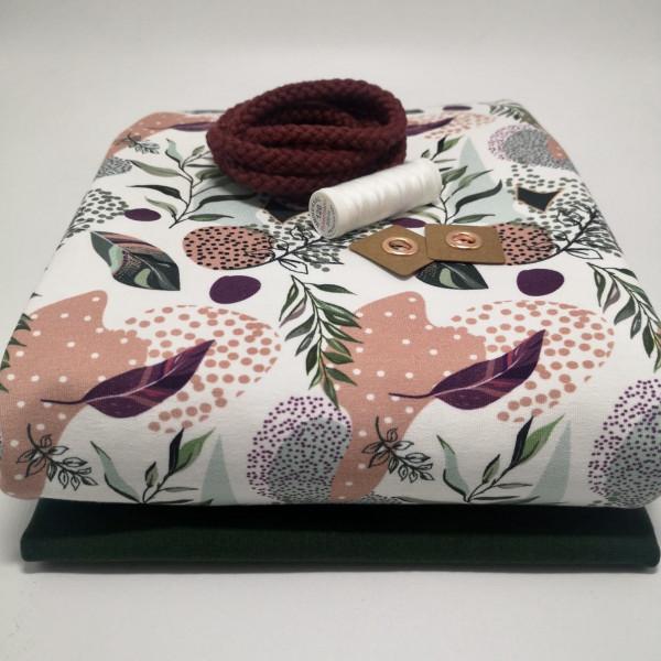 "Stoffpaket Damen ""floral"": Hoodie, Gr. 32-44 (XXS-XXL)"