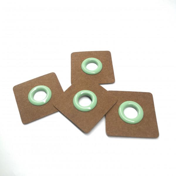 4 Aufnähösen SnapPap 8 mm mintgrün