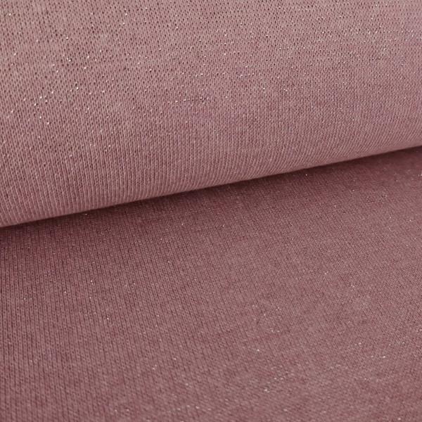 Bündchenstoff Glitzer meliert, rosa-silber