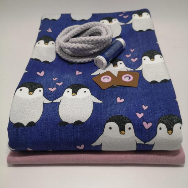 """Stoffpaket Kinder """"Pinguin"""": Hoodie, Gr. 116-152"""