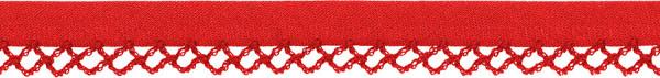 Schrägband Häkelkante 12 mm rot