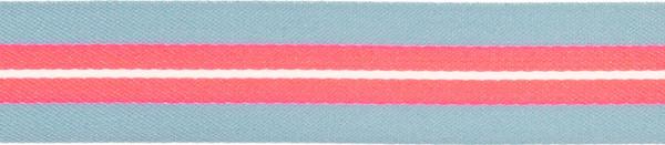 Band 25 mm grau-pink gestreift